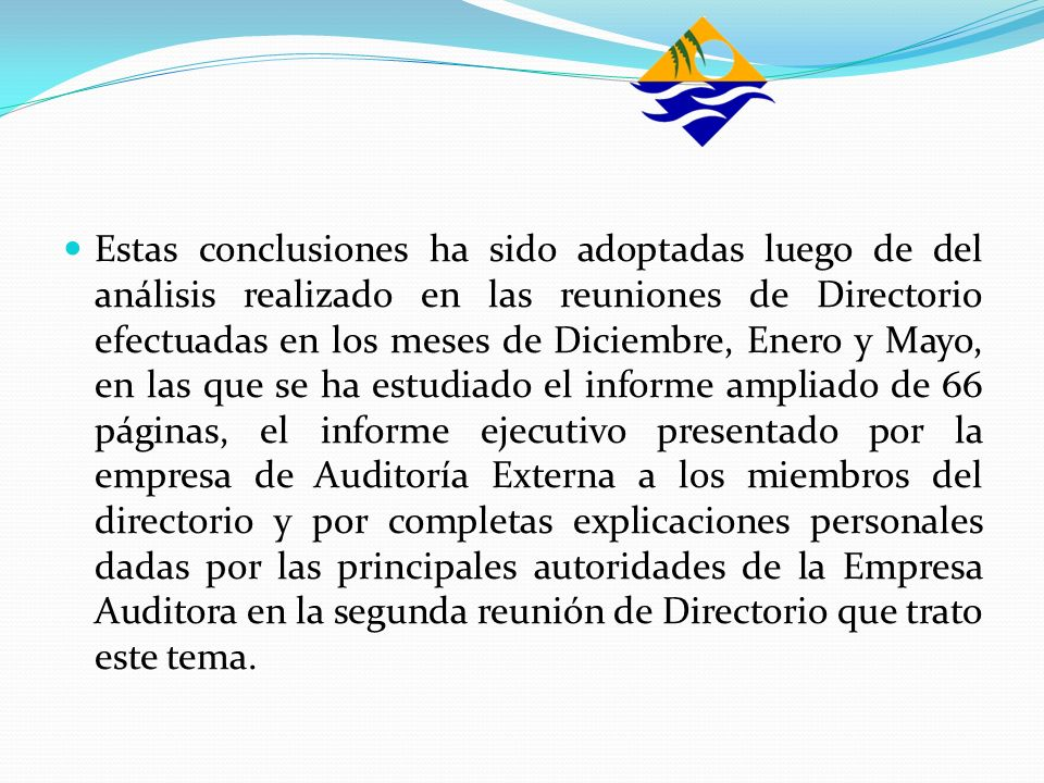 Estas conclusiones ha sido adoptadas luego de del análisis realizado en las reuniones de Directorio efectuadas en los meses de Diciembre, Enero y Mayo