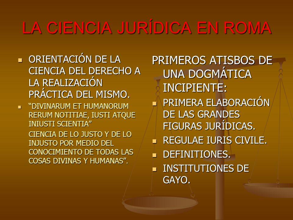 LA CIENCIA JURÍDICA EN ROMA ORIENTACIÓN DE LA CIENCIA DEL DERECHO A LA REALIZACIÓN PRÁCTICA DEL MISMO. ORIENTACIÓN DE LA CIENCIA DEL DERECHO A LA REAL