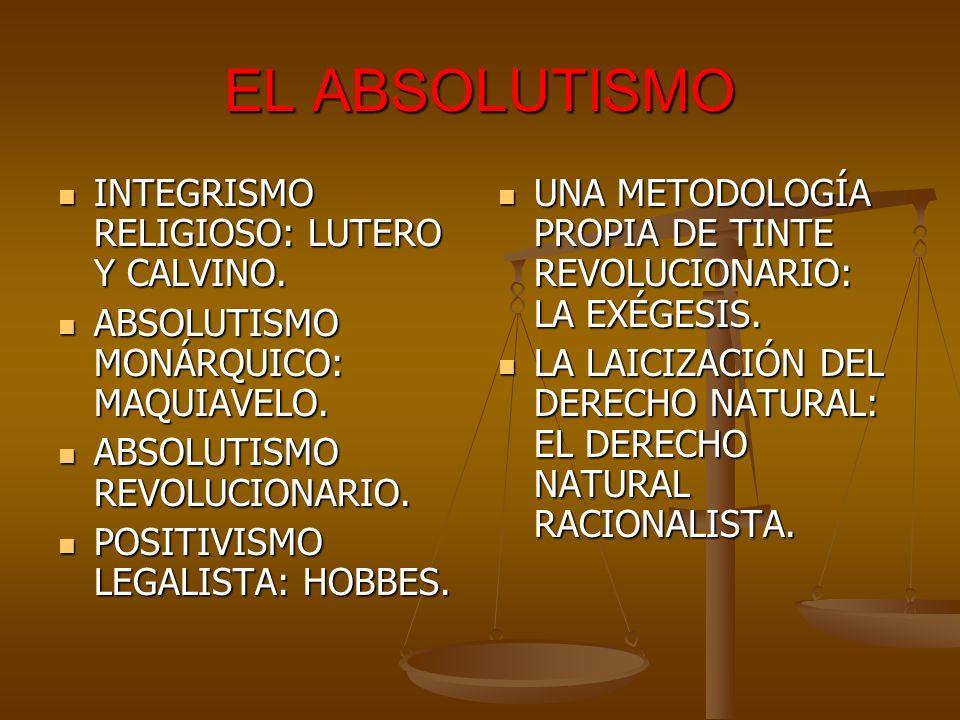 EL ABSOLUTISMO INTEGRISMO RELIGIOSO: LUTERO Y CALVINO. INTEGRISMO RELIGIOSO: LUTERO Y CALVINO. ABSOLUTISMO MONÁRQUICO: MAQUIAVELO. ABSOLUTISMO MONÁRQU