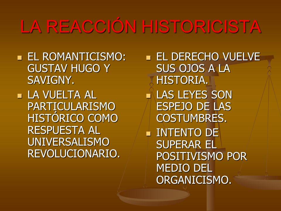 LA REACCIÓN HISTORICISTA EL ROMANTICISMO: GUSTAV HUGO Y SAVIGNY. EL ROMANTICISMO: GUSTAV HUGO Y SAVIGNY. LA VUELTA AL PARTICULARISMO HISTÓRICO COMO RE