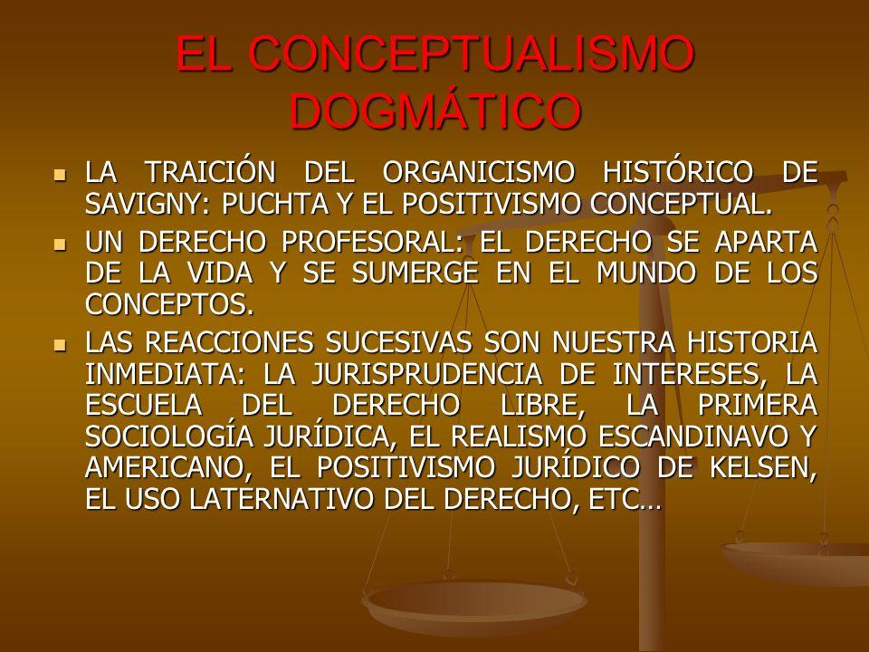 EL CONCEPTUALISMO DOGMÁTICO LA TRAICIÓN DEL ORGANICISMO HISTÓRICO DE SAVIGNY: PUCHTA Y EL POSITIVISMO CONCEPTUAL. LA TRAICIÓN DEL ORGANICISMO HISTÓRIC