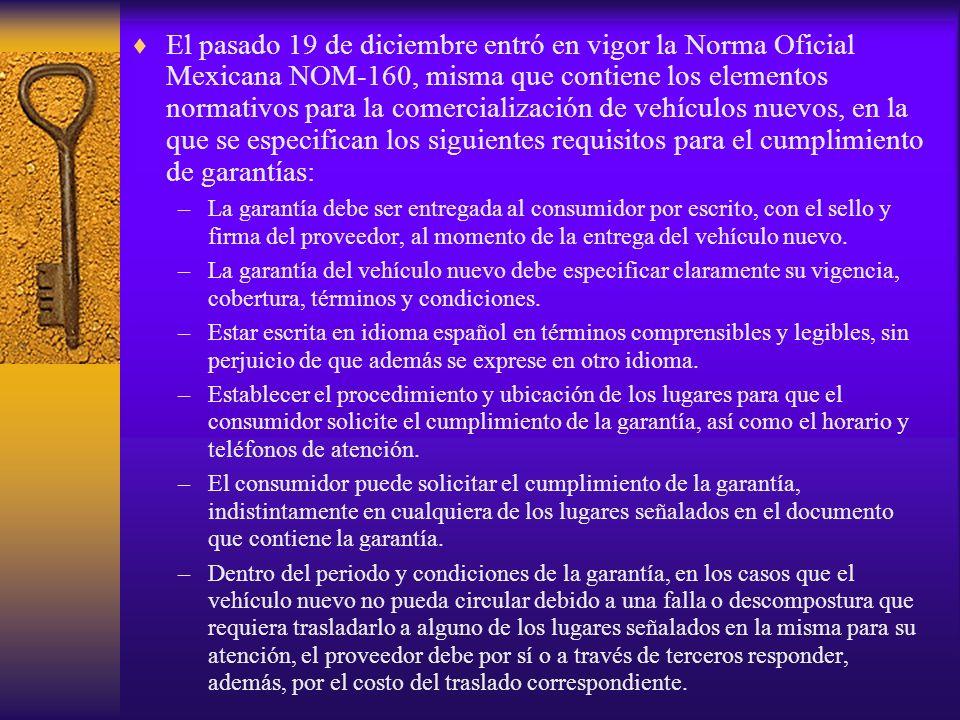 El pasado 19 de diciembre entró en vigor la Norma Oficial Mexicana NOM-160, misma que contiene los elementos normativos para la comercialización de ve