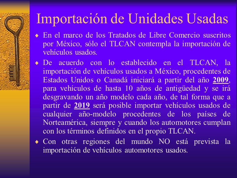 Importación de Unidades Usadas En el marco de los Tratados de Libre Comercio suscritos por México, sólo el TLCAN contempla la importación de vehículos
