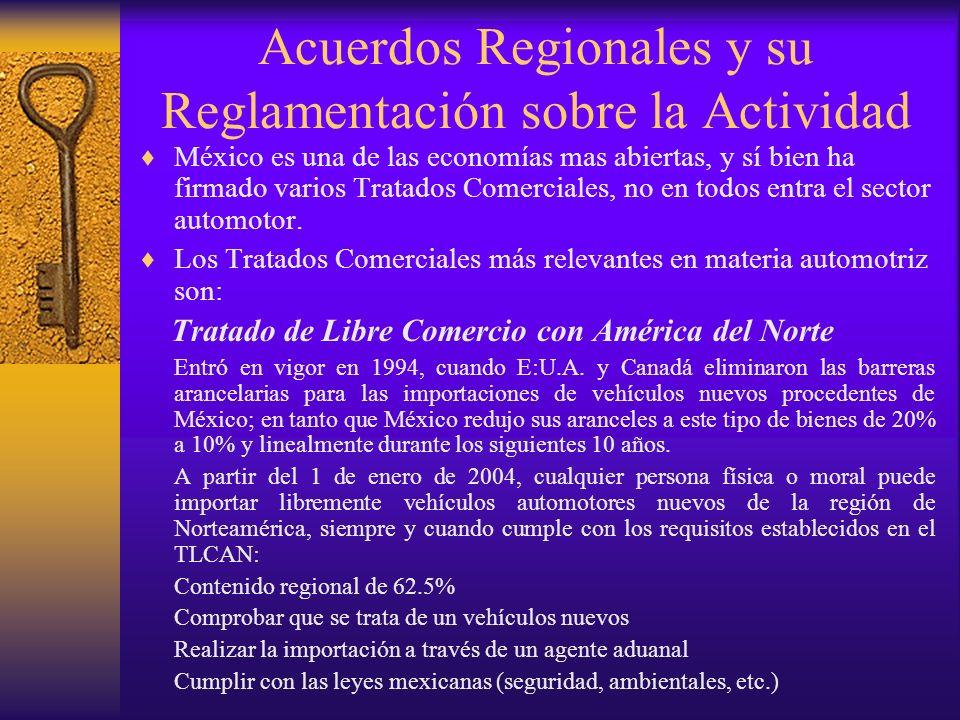 Acuerdos Regionales y su Reglamentación sobre la Actividad México es una de las economías mas abiertas, y sí bien ha firmado varios Tratados Comercial