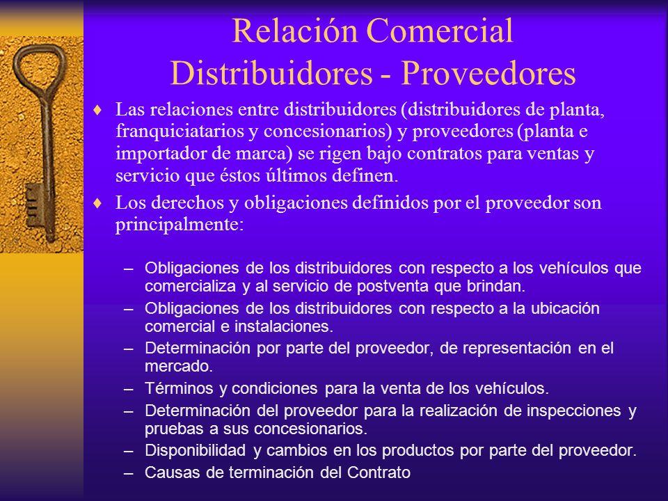 Relación Comercial Distribuidores - Proveedores Las relaciones entre distribuidores (distribuidores de planta, franquiciatarios y concesionarios) y pr