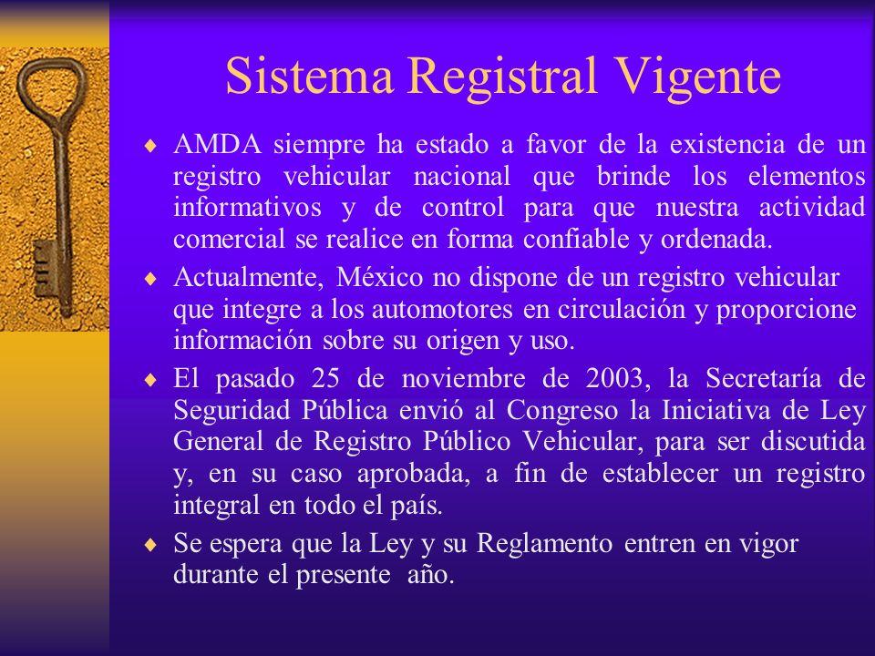 Sistema Registral Vigente AMDA siempre ha estado a favor de la existencia de un registro vehicular nacional que brinde los elementos informativos y de