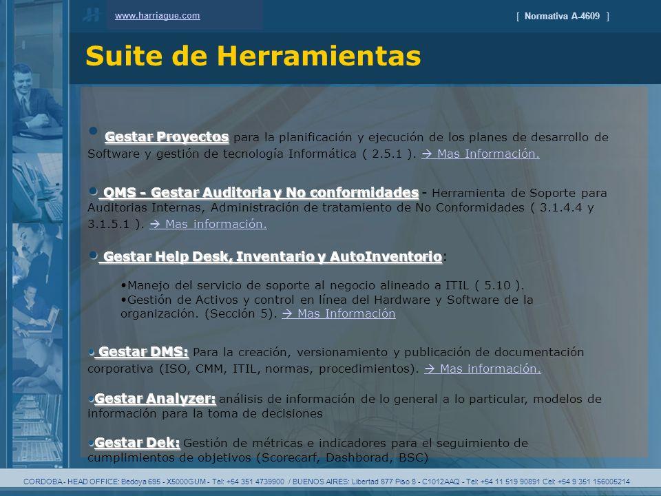CORDOBA - HEAD OFFICE: Bedoya 695 - X5000GUM - Tel: +54 351 4739900 / BUENOS AIRES: Libertad 877 Piso 8 - C1012AAQ - Tel: +54 11 519 90891 Cel: +54 9 351 156005214 [ Normativa A-4609 ] Suite de Herramientas www.harriague.com Gestar Proyectos Gestar Proyectos para la planificación y ejecución de los planes de desarrollo de Software y gestión de tecnología Informática ( 2.5.1 ).