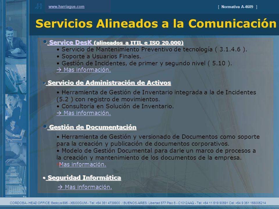 CORDOBA - HEAD OFFICE: Bedoya 695 - X5000GUM - Tel: +54 351 4739900 / BUENOS AIRES: Libertad 877 Piso 8 - C1012AAQ - Tel: +54 11 519 90891 Cel: +54 9 351 156005214 [ Normativa A-4609 ] Servicios Alineados a la Comunicación www.harriague.com Service DesK (alineados a ITIL e ISO 20.000) Service DesK (alineados a ITIL e ISO 20.000)Service DesK Service DesK Servicio de Mantenimiento Preventivo de tecnología ( 3.1.4.6 ).