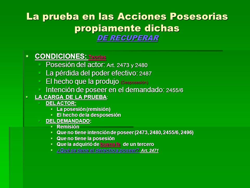 La prueba en las Acciones Posesorias propiamente dichas DE RECUPERAR CONDICIONES: Teorías CONDICIONES: Teorías Posesión del actor: Art. 2473 y 2480 Po