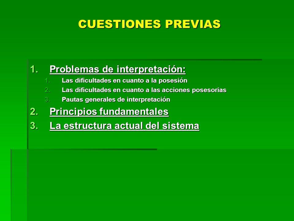 CUESTIONES PREVIAS 1.Problemas de interpretación: 1.Las dificultades en cuanto a la posesión 2.Las dificultades en cuanto a las acciones posesorias 3.