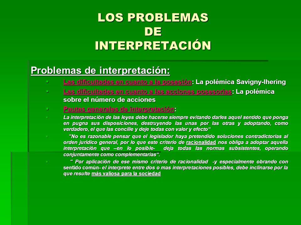 LOS PROBLEMAS DE INTERPRETACIÓN Problemas de interpretación: Las dificultades en cuanto a la posesión: La polémica Savigny-Ihering Las dificultades en