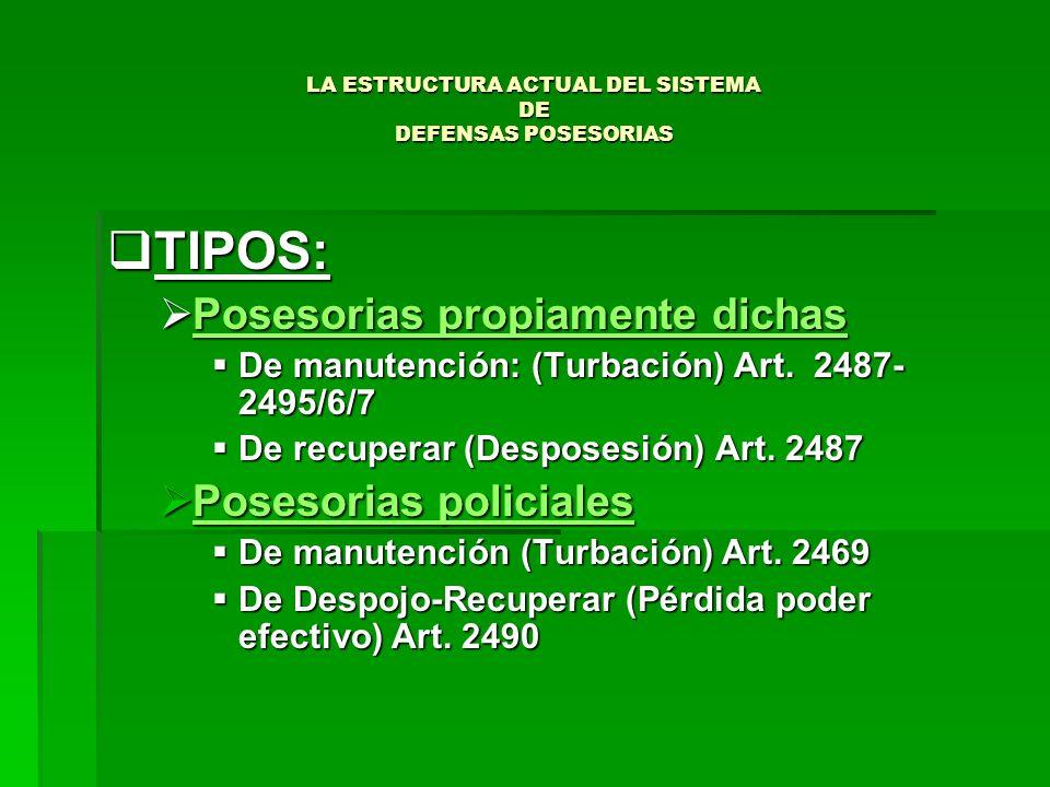 LA ESTRUCTURA ACTUAL DEL SISTEMA DE DEFENSAS POSESORIAS TIPOS: TIPOS: Posesorias propiamente dichas Posesorias propiamente dichas De manutención: (Tur