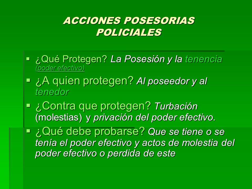 ACCIONES POSESORIAS POLICIALES ¿Qué Protegen? La Posesión y la tenencia (poder efectivo) ¿Qué Protegen? La Posesión y la tenencia (poder efectivo) ¿A