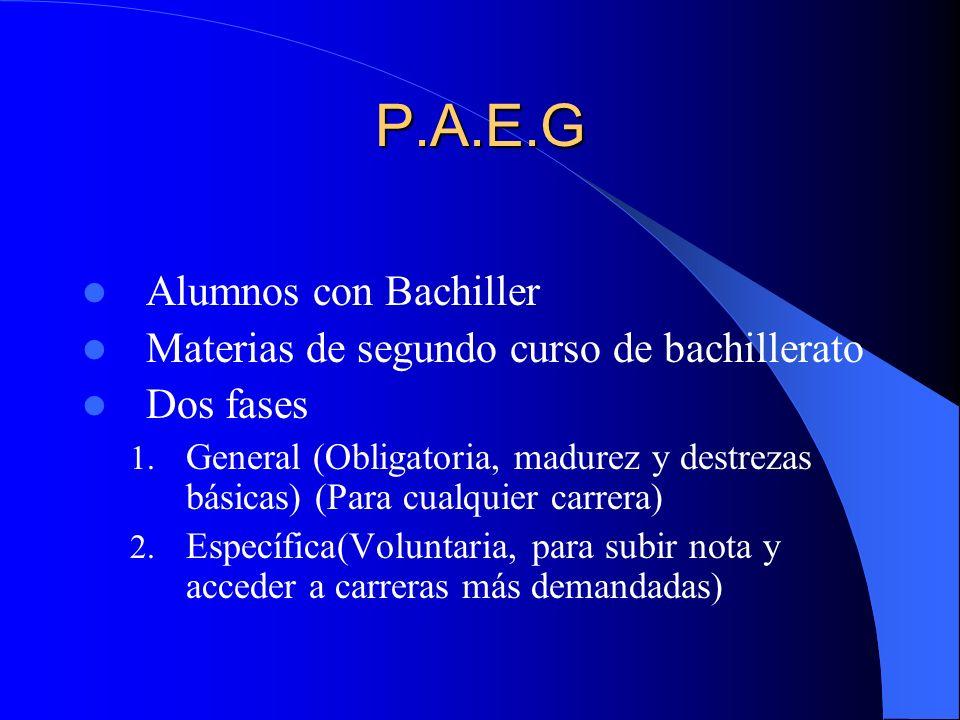 P.A.E.G Alumnos con Bachiller Materias de segundo curso de bachillerato Dos fases 1.