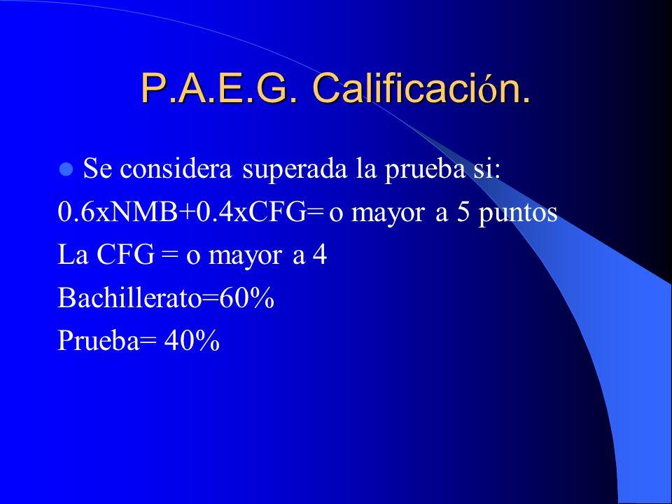 P.A.E.G. Calificaci ó n. Se considera superada la prueba si: 0.6xNMB+0.4xCFG= o mayor a 5 puntos La CFG = o mayor a 4 Bachillerato=60% Prueba= 40%