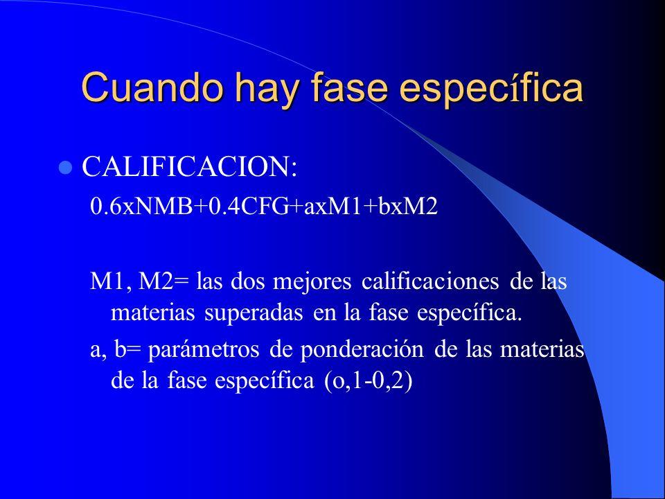 Cuando hay fase espec í fica CALIFICACION: 0.6xNMB+0.4CFG+axM1+bxM2 M1, M2= las dos mejores calificaciones de las materias superadas en la fase específica.