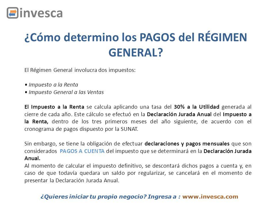 ¿Cuáles son los métodos para el cálculo de los PAGOS a CUENTA del Régimen General.