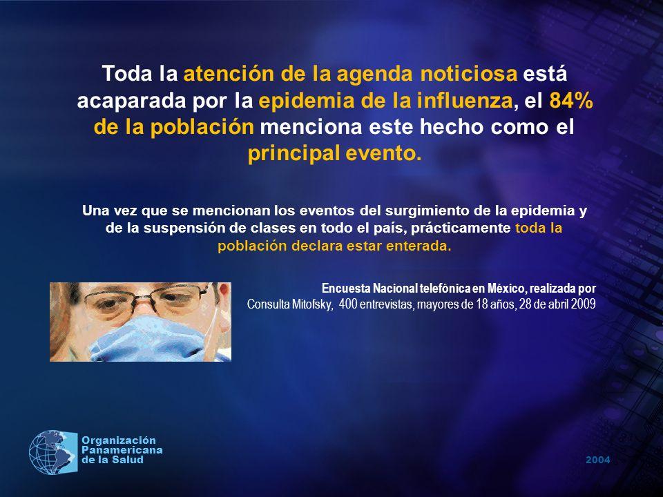2004 Organización Panamericana de la Salud Toda la atención de la agenda noticiosa está acaparada por la epidemia de la influenza, el 84% de la poblac