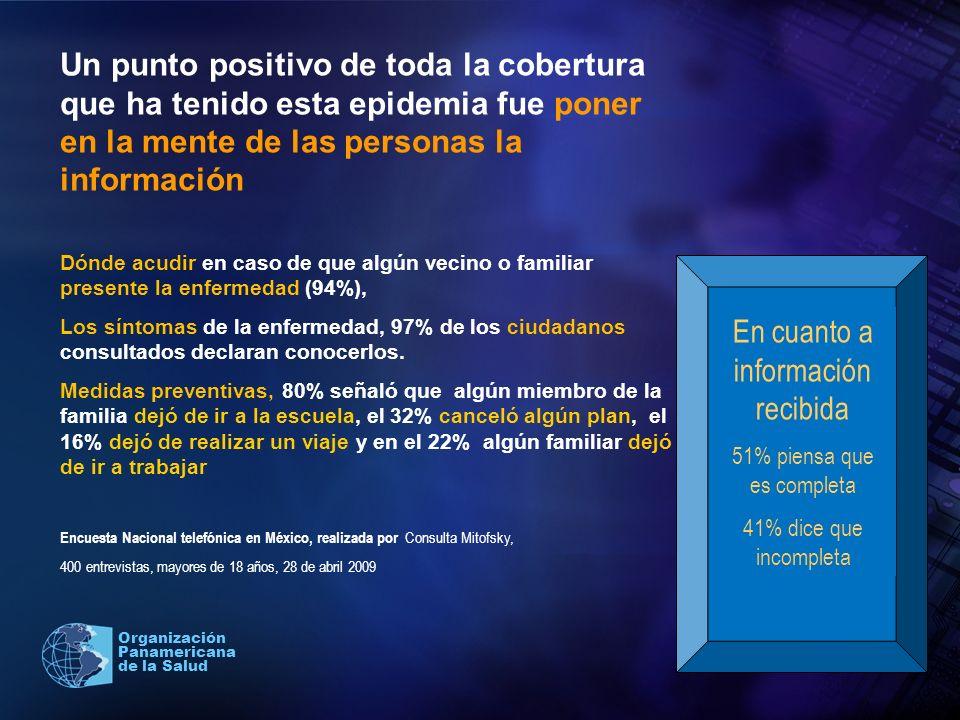 2004 Organización Panamericana de la Salud Un punto positivo de toda la cobertura que ha tenido esta epidemia fue poner en la mente de las personas la