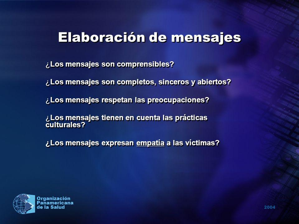2004 Organización Panamericana de la Salud Elaboración de mensajes ¿Los mensajes son comprensibles? ¿Los mensajes son completos, sinceros y abiertos?