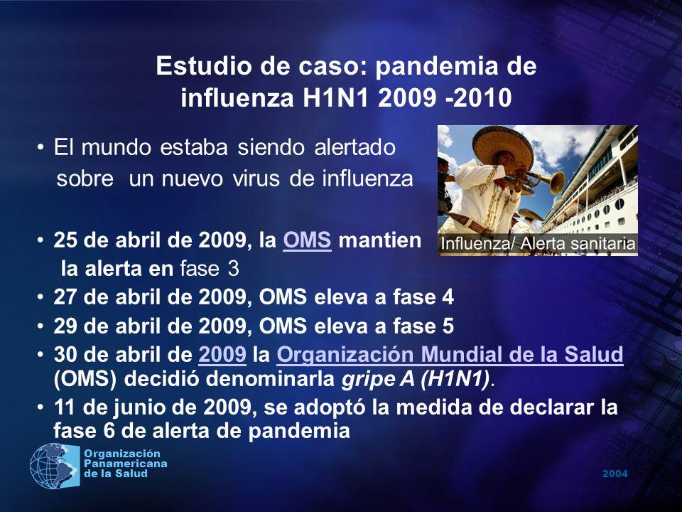 2004 Organización Panamericana de la Salud Estudio de caso: pandemia de influenza H1N1 2009 -2010 Un mes después de detectarse los primeros casos en Veracruz México, la epidemia se extendió por varios estados mexicanos, Estados Unidos y Canadá, para luego exportarse, con aparición de numerosos casos en otros países de diferentes continentes.