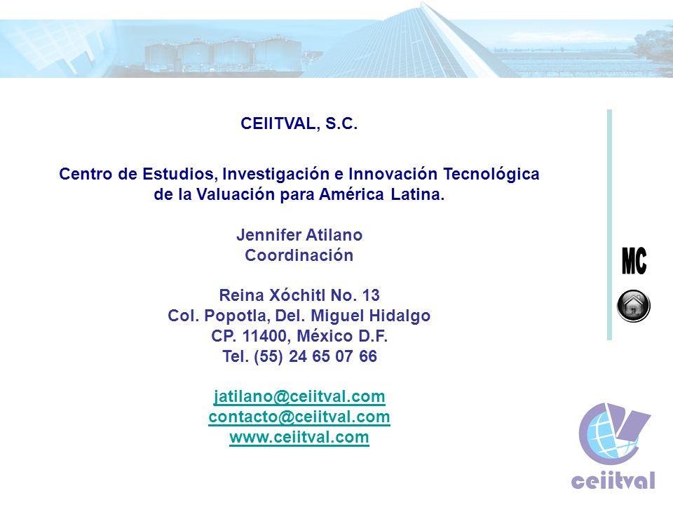 CEIITVAL, S.C. Centro de Estudios, Investigación e Innovación Tecnológica de la Valuación para América Latina. Jennifer Atilano Coordinación Reina Xóc