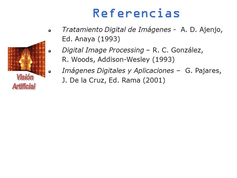 Referencias Tratamiento Digital de Imágenes - A. D. Ajenjo, Ed. Anaya (1993) Digital Image Processing – R. C. González, R. Woods, Addison-Wesley (1993