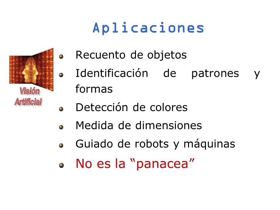 Aplicaciones Recuento de objetos Identificación de patrones y formas Detección de colores Medida de dimensiones Guiado de robots y máquinas No es la p