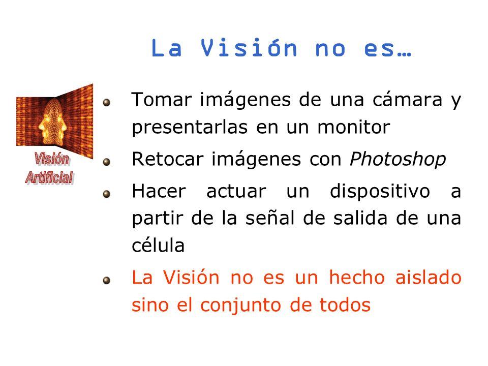 La Visión no es… Tomar imágenes de una cámara y presentarlas en un monitor Retocar imágenes con Photoshop Hacer actuar un dispositivo a partir de la s