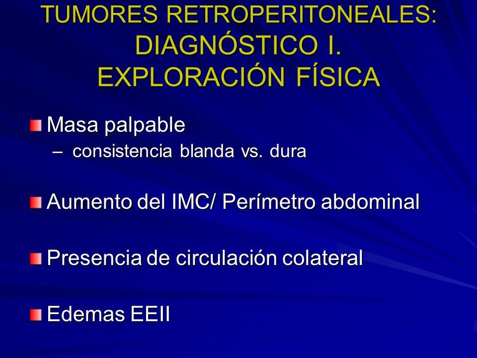 TUMORES RETROPERITONEALES: DIAGNÓSTICO I. EXPLORACIÓN FÍSICA Masa palpable – consistencia blanda vs. dura Aumento del IMC/ Perímetro abdominal Presenc