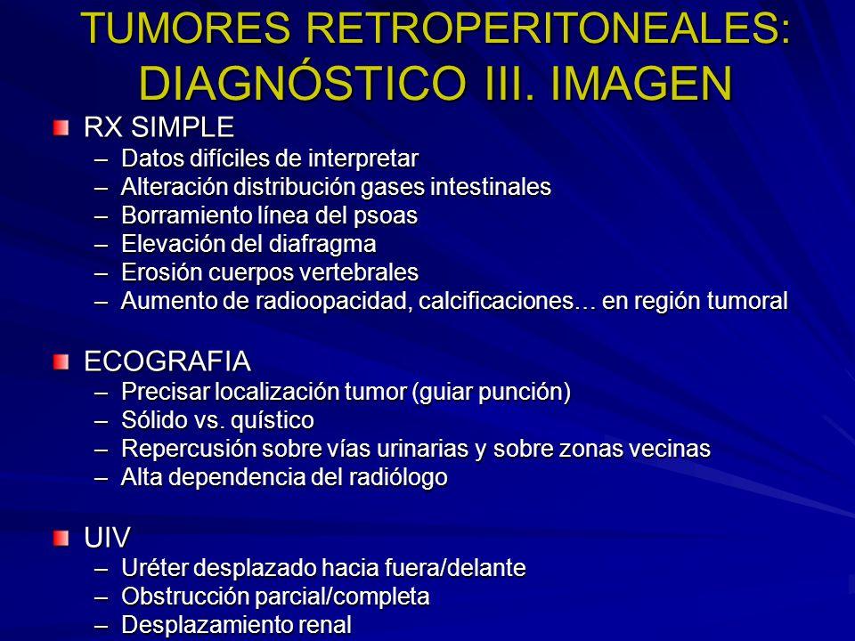TUMORES RETROPERITONEALES: DIAGNÓSTICO III. IMAGEN RX SIMPLE –Datos difíciles de interpretar –Alteración distribución gases intestinales –Borramiento