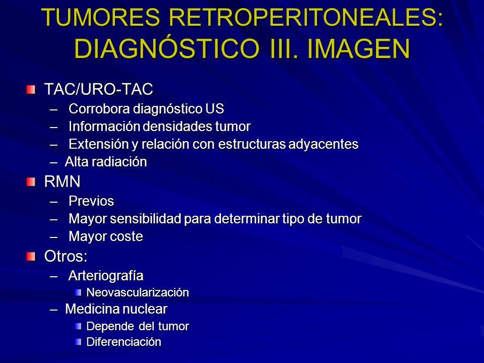 TUMORES RETROPERITONEALES: DIAGNÓSTICO III. IMAGEN TAC/URO-TAC – Corrobora diagnóstico US – Información densidades tumor – Extensión y relación con es