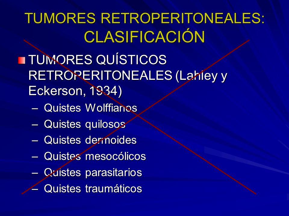 TUMORES RETROPERITONEALES: CLASIFICACIÓN TUMORES QUÍSTICOS RETROPERITONEALES (Lahley y Eckerson, 1934) – Quistes Wolffianos – Quistes quilosos – Quist