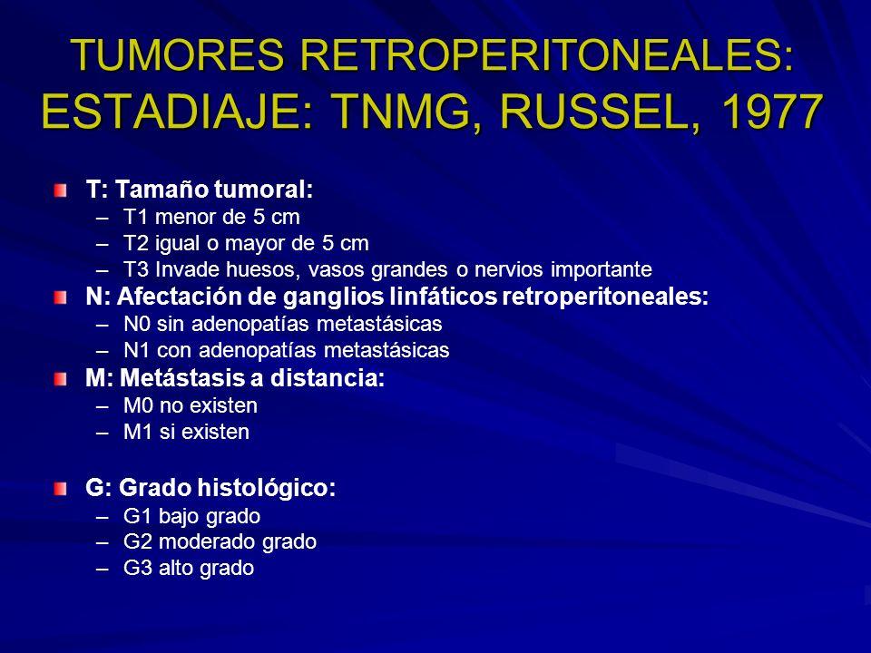 TUMORES RETROPERITONEALES: ESTADIAJE: TNMG, RUSSEL, 1977 T: Tamaño tumoral: – –T1 menor de 5 cm – –T2 igual o mayor de 5 cm – –T3 Invade huesos, vasos