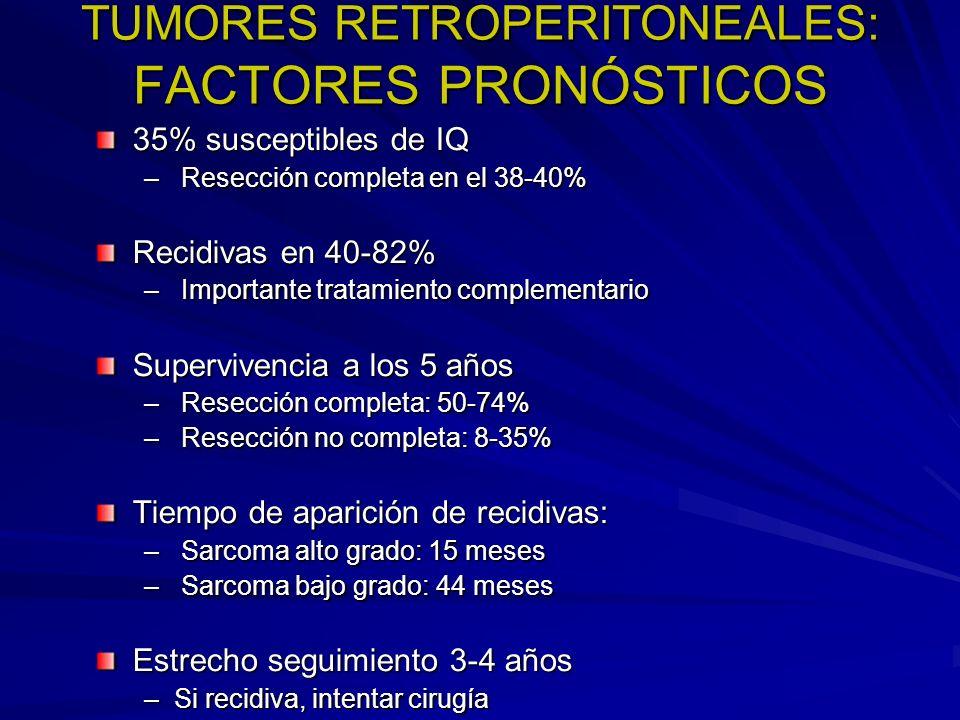 TUMORES RETROPERITONEALES: FACTORES PRONÓSTICOS 35% susceptibles de IQ – Resección completa en el 38-40% Recidivas en 40-82% – Importante tratamiento