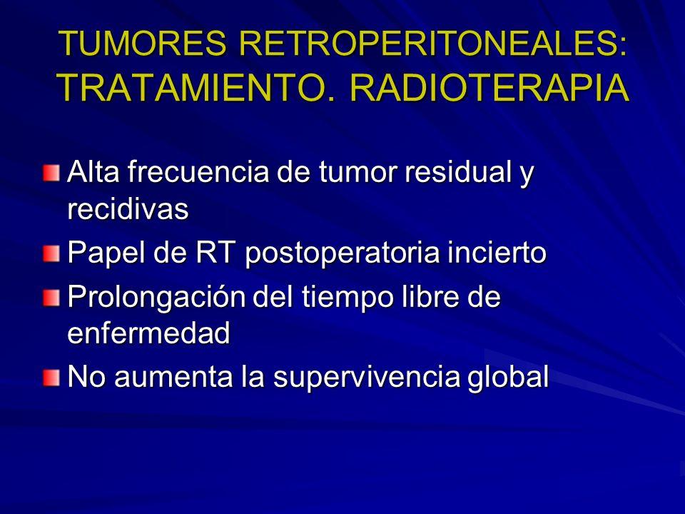 TUMORES RETROPERITONEALES: TRATAMIENTO. RADIOTERAPIA Alta frecuencia de tumor residual y recidivas Papel de RT postoperatoria incierto Prolongación de