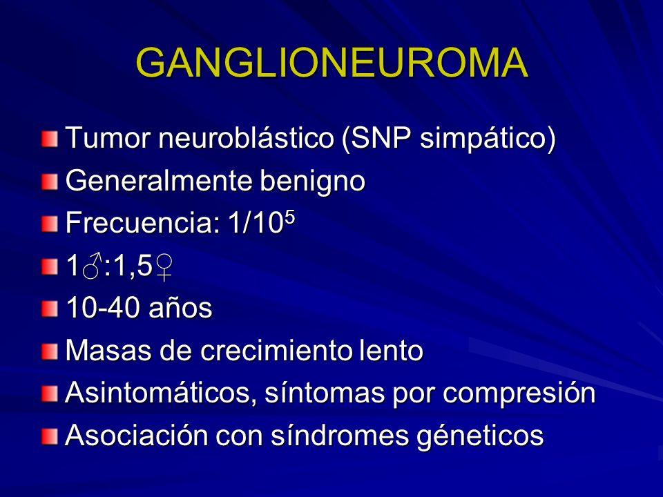 GANGLIONEUROMA Tumor neuroblástico (SNP simpático) Generalmente benigno Frecuencia: 1/10 5 1:1,5 10-40 años Masas de crecimiento lento Asintomáticos,