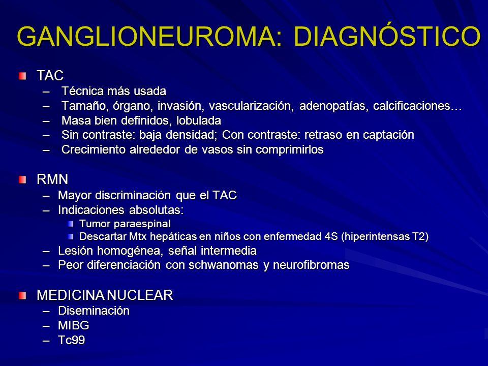 GANGLIONEUROMA: DIAGNÓSTICO TAC – Técnica más usada – Tamaño, órgano, invasión, vascularización, adenopatías, calcificaciones… – Masa bien definidos,