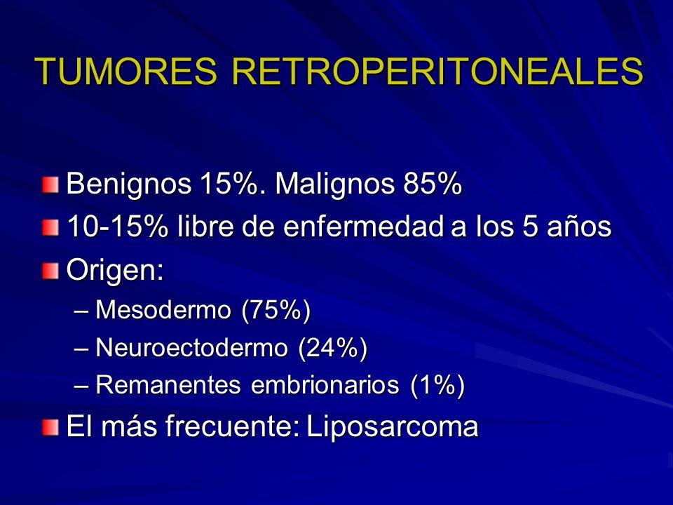 TUMORES RETROPERITONEALES Benignos 15%. Malignos 85% 10-15% libre de enfermedad a los 5 años Origen: –Mesodermo (75%) –Neuroectodermo (24%) –Remanente
