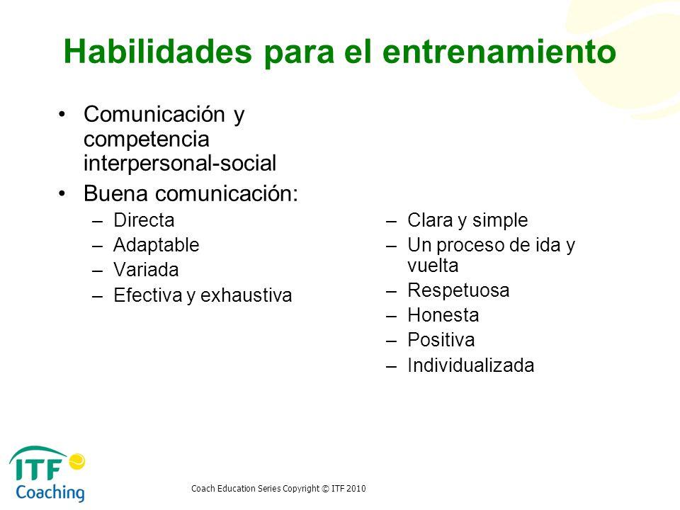 Coach Education Series Copyright © ITF 2010 Habilidades para el entrenamiento Comunicación y competencia interpersonal-social Buena comunicación: –Dir
