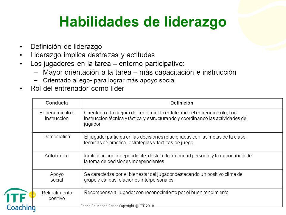 Coach Education Series Copyright © ITF 2010 Habilidades de liderazgo Definición de liderazgo Liderazgo implica destrezas y actitudes Los jugadores en