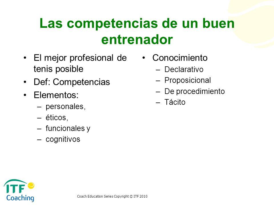 Coach Education Series Copyright © ITF 2010 Las competencias de un buen entrenador El mejor profesional de tenis posible Def: Competencias Elementos: