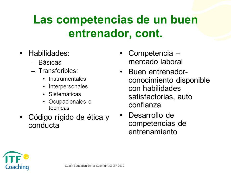 Coach Education Series Copyright © ITF 2010 Las competencias de un buen entrenador, cont. Habilidades: –Básicas –Transferibles: Instrumentales Interpe