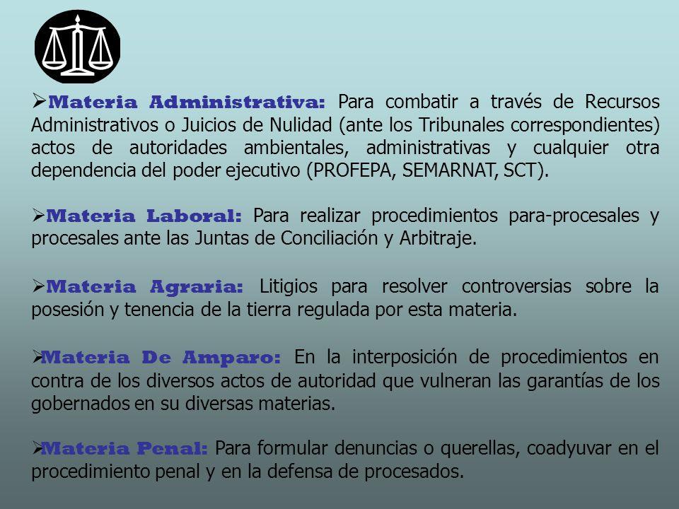 Materia Administrativa: Para combatir a través de Recursos Administrativos o Juicios de Nulidad (ante los Tribunales correspondientes) actos de autori
