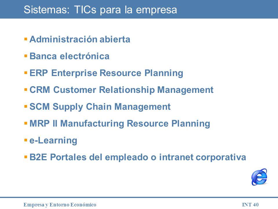 INT 40Empresa y Entorno Económico Sistemas: TICs para la empresa Administración abierta Banca electrónica ERP Enterprise Resource Planning CRM Custome
