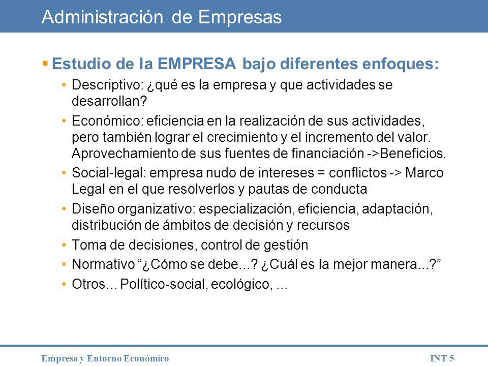 INT 16Empresa y Entorno Económico Según la titularidad.