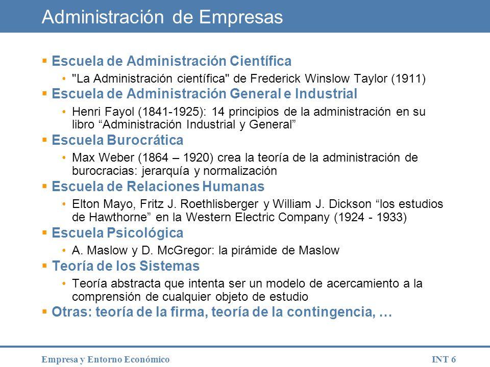 INT 7Empresa y Entorno Económico Evolución histórica de la empresa Modelo de empresaEstructuraModelo social Empresa primitivaUnidad simple, familiar, jerárquica, no orientada al mercado.