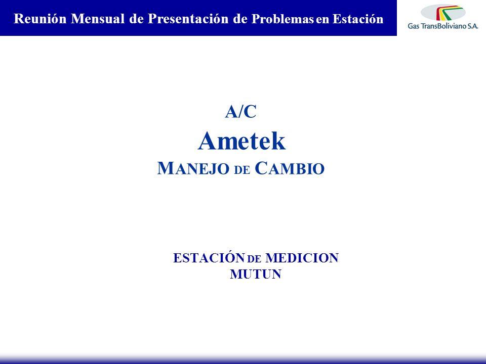 A/C Ametek M ANEJO DE C AMBIO ESTACIÓN DE MEDICION MUTUN Reunión Mensual de Presentación de Problemas en Estación