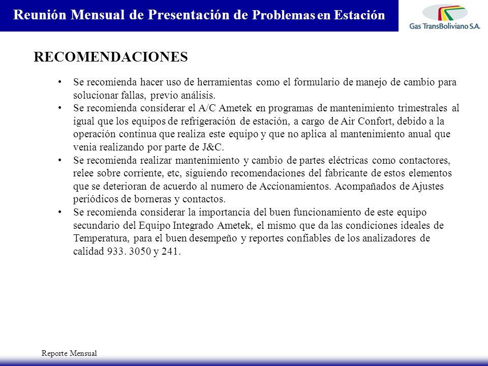Reporte Mensual Reunión Mensual de Presentación de Problemas en Estación RECOMENDACIONES Se recomienda hacer uso de herramientas como el formulario de