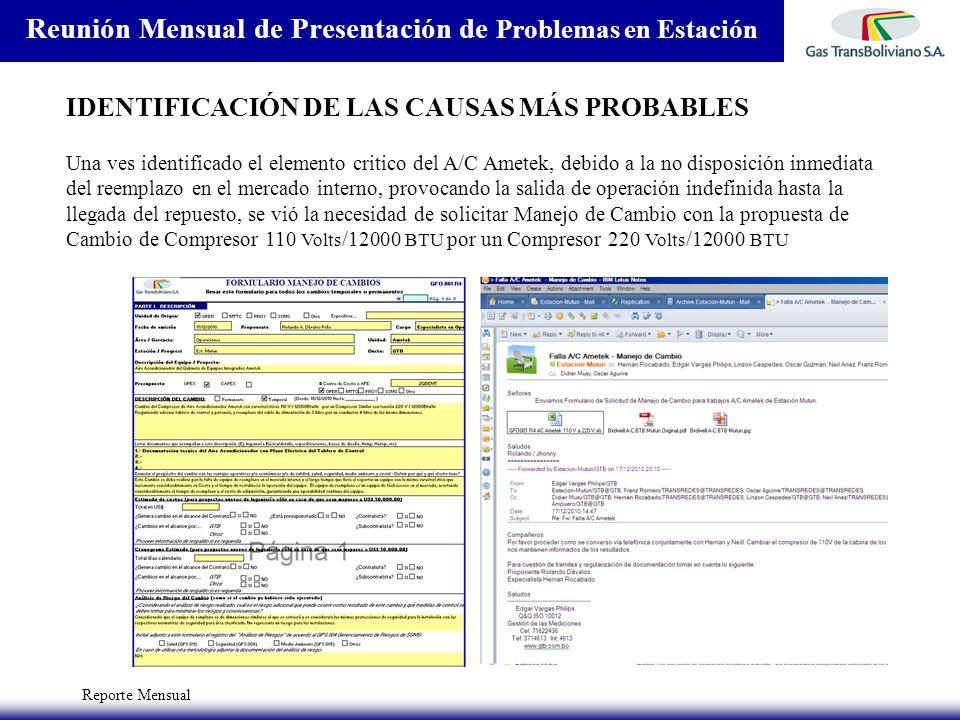 Reporte Mensual Reunión Mensual de Presentación de Problemas en Estación IDENTIFICACIÓN DE LAS CAUSAS MÁS PROBABLES Una ves identificado el elemento c